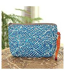 batik cotton cosmetic bag, 'creative design in azure' (india)