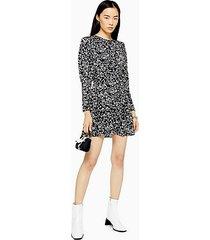 austin black and white printed long sleeve mini dress - monochrome