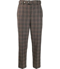 brunello cucinelli plaid belted trousers - brown