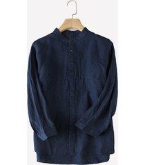 mens 100% cotone slip traspirante tinta unita casual monopetto camicia