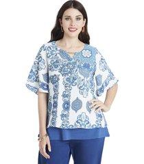blusa print índigo azul lorenzo di pontti