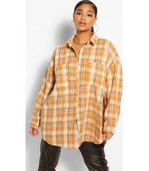 plus oversized geruite boyfriend blouse, mosterd