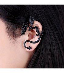 orecchini unisex in oro bianco con clip per orecchini a forma di orecchio di drago punk per lei