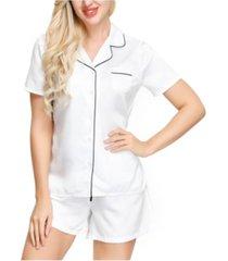 ink+ivy women's short sleeve notch collar pajama top and short set