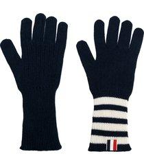 thom browne 4-bar cashmere gloves - blue