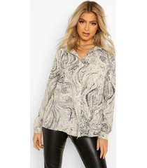 tall marmerprint blouse, grey