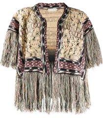 etro intarsia-knit frayed cardi-coat - neutrals