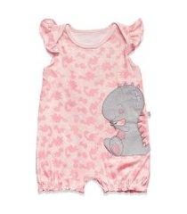 macacáo curto com bordado hug rosa mac00883 - rosa - p rosa