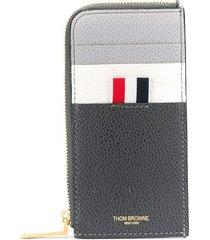 thom browne paneled zip-around wallet - grey