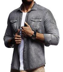 manica lunga in cotone camicia a maniche lunghe con bottoni in cotone
