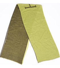 hermes reversible stole green cashmere silk logo scarf green/logo sz: