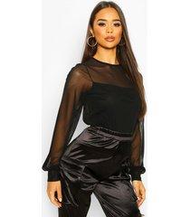 mesh long sleeve 2 in 1 top, black