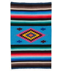 native yoga super diamond mexican blanket turquoise cotton