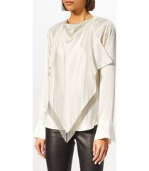 alexander wang women's blouse with ball chain fringe scarf - ivory - us 8/uk 12 - white