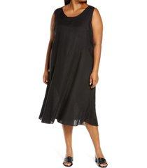 plus size women's eileen fisher organic linen midi dress, size 2x - black