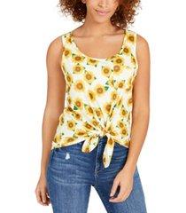 rebellious one juniors' sunflower tie-front tank top