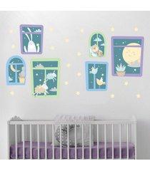 adesivo de parede animais nas janelas e estrelas 29un - multicolorido - dafiti
