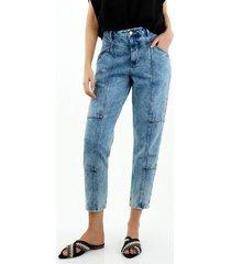 jean de mujer, 100% algodón, silueta amplia tipo baggy, color azul