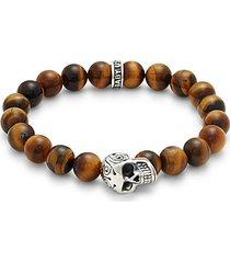 sterling silver & tiger's eye beaded bracelet