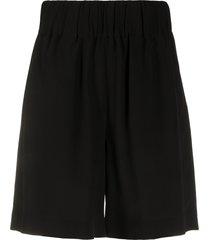 aspesi gathered wide leg shorts - black