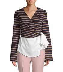 combo stripe & poplin wrap blouse