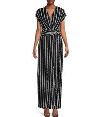 sachin & babi women's wren striped column gown - jet white - size 10