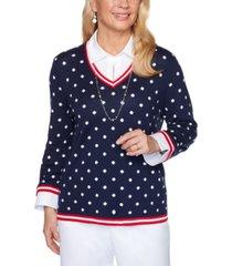 alfred dunner petite ship shape polka-dot layered-look sweater