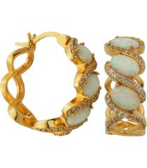 18k gold over sterling silver with lab created opal and cubic zirconia hoop earrings