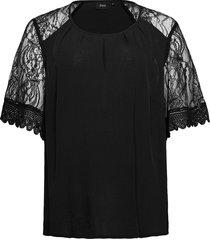 blouse viscose plus lace sleeves round neck blouses short-sleeved svart zizzi