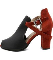sandalia cuero negro por ante marrón heels.d