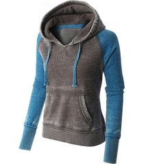 casual style long sleeve hooded front pocket design spliced women's pullover hoodie