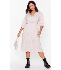 womens frill doing our own thing plus midi dress - hushed violet