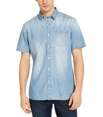 sun + stone men's embroidered denim short sleeve shirt, created for macy's