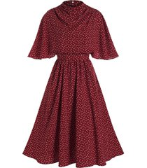 heart print belted butterfly sleeve dress