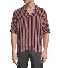 boss hugo boss men's striped button front shirt - orange blue - size s