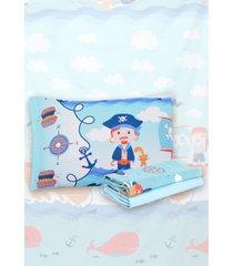 jogo de cama 3pã§s solteiro santista infantil pirata azul - azul - dafiti