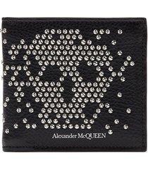 stud skull leather bi-fold wallet