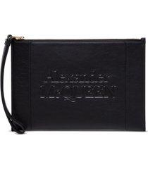 alexander mcqueen signature clutch in black leather