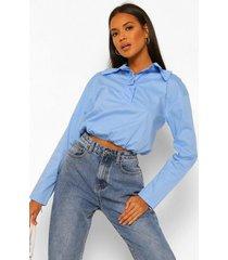 poplin blouse met grote kraag en geplooide taille band, pale blue