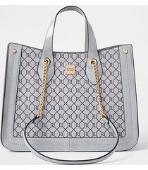 river island womens grey ri monogram chain handle shopper bag