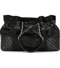 chanel pre-owned cc drawstring chain hand tote bag - black