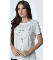 t-shirt daniela cristina gola u 06 602dc10281 branco - branco - pp - feminino