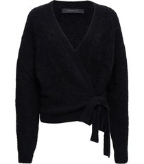 federica tosi black mohair blend cardigan with bow