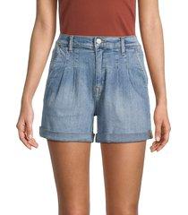kensie women's high-rise pleated denim shorts - bondi - size 31 (12)