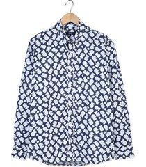 camisa ml algodón navy fegarelli