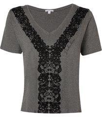 blusa dudalina manga curta silk flocado frente feminina (cinza mescla medio, gg)