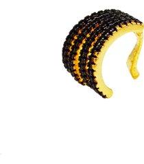 brinco piercing oca cravejado cristais negros banhado a ouro 18k