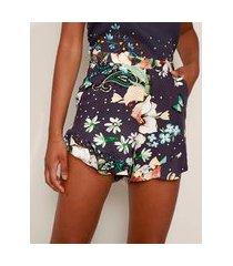 short feminino cintura alta estampado floral com bolsos e babado azul marinho