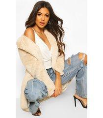 luxe faux fur jas, zand