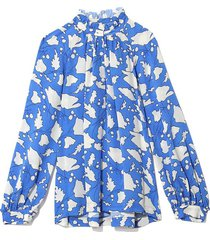 bold floral silk victorian ruffle blouse in french blue